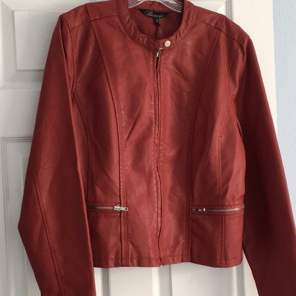 8cb1040d7 Baccini Red Faux Leather Jacket. Size XL NWT